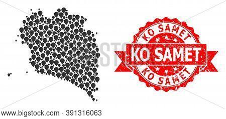 Pointer Mosaic Map Of Ko Pha Ngan And Grunge Ribbon Seal. Red Seal Contains Ko Samet Text Inside Rib