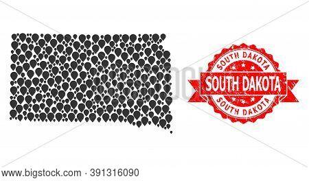 Mark Mosaic Map Of South Dakota State And Grunge Ribbon Stamp. Red Stamp Seal Has South Dakota Text