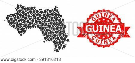 Target Mosaic Map Of French Guinea And Grunge Ribbon Seal. Red Stamp Seal Contains Guinea Text Insid