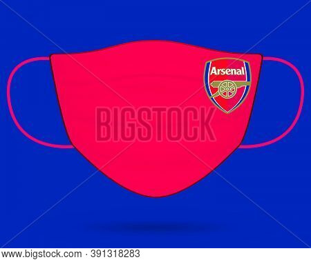 Surgical Face Mask With Arsenal Football Club Logo In Covid-19, Wear Mask & Stay Safe, New Normal- C