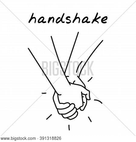 Couple Holding Hands Handdrawn Illustration. Cartoon Vector Clip Art Of A Couple Holding Hands. Blac