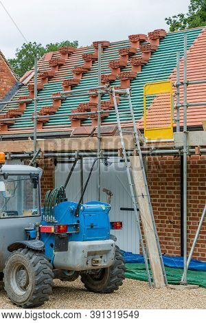 Construction Site With Machinery And Scaffolding, Uk House Home Extension, Barn Conversion