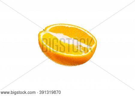 Half Juicy Orange Isolate On White Background