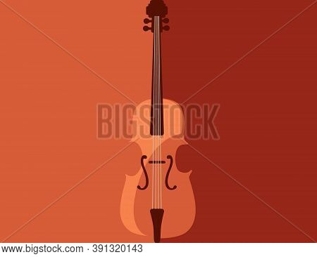 Classical Wooden Violin Musical Instrument Flat Vector Illustration On Red And Orange Background