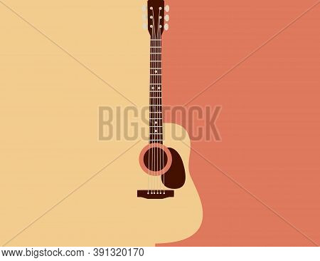 Acoustic Guitar Classical Vintage Music Instrument Flat Vector Illustration On Yellow And Orange Bac
