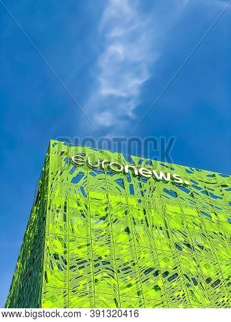 Euronews, European Pay Television News Network Brand Logo On Its Headquarter Office Building Located