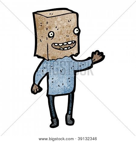 cartoon ugly man with bag on head