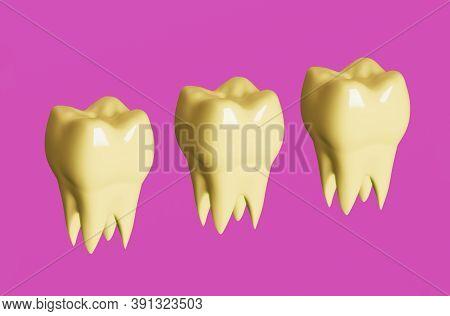 Yellow Molar Teeth On Pink Background. Minimal Dental Care Concept. 3d Illustration