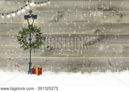 Christmas New Year Wooden Background Christmas Gift Boxes, Floral Wreath, String Of Lights, Street L
