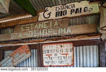 Riesco Island, Chile - December 12, 2008: Posada Estancia Rio Verde Working Farm. Collection Of Old