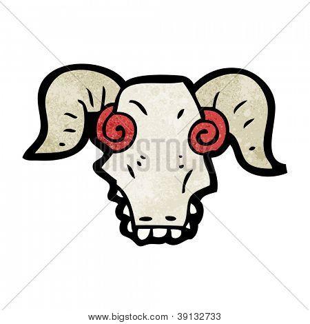 spooky cartoon ram skull poster