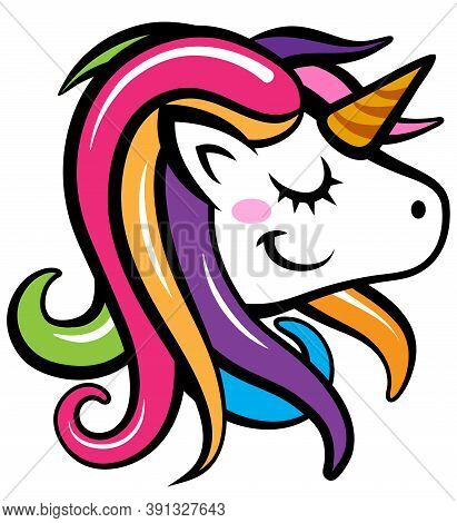 Cute Unicorn Drawing Isolated On White Background. Magical Unicorn Vector Art Graphic.