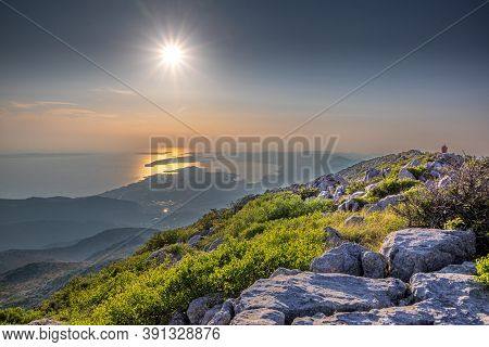 Panorama Of City And The Surrounding Area, A View From Mosor Mountain. Sunset In Split, Croatia.