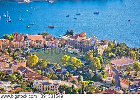 Villefranche Sur Mer. Idyllic Town On French Riviera Coastline View, Alpes-maritimes Region Of Franc