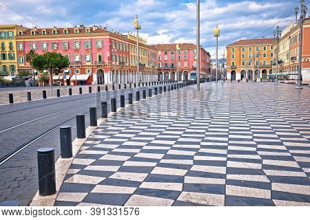 City Of Nice Place Massena Square Colorful Architecture View, Tourist Destination Of Franch Riviera,