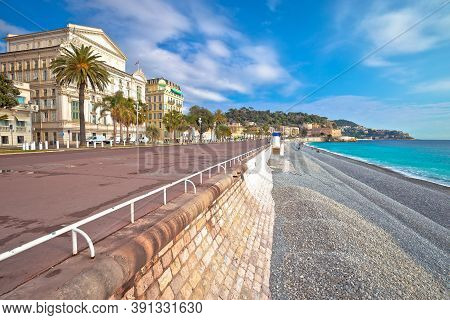 English Promenade Famous Walkway And Beach In City Of Nice, French Riviera, Alpes Maritimes, France