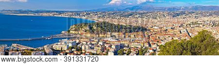 City Of Nice Waterfront Aerial Panoramic View, French Riviera, Alpes Maritimes Department Of France
