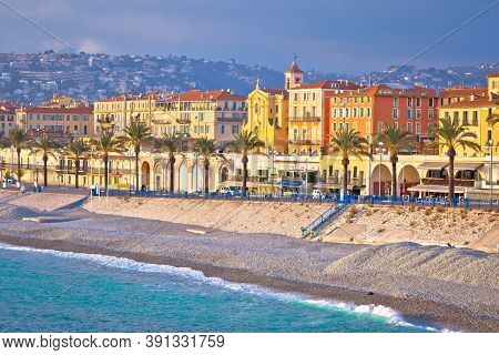 City Of Nice Promenade Des Anglais And Waterfront View, French Riviera, Alpes Maritimes Department O