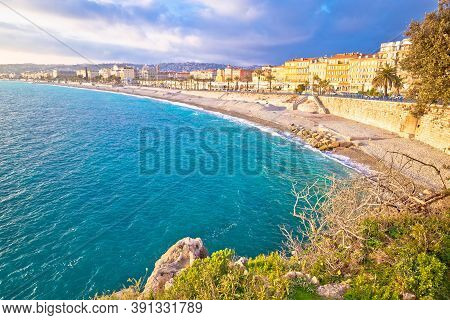 City Of Nice Promenade Des Anglais Waterfront And Beach View, French Riviera, Alpes Maritimes Depart