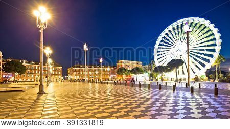 City Of Nice Giant Ferris Wheel And Massena Square Evening Panoramic View, Alpes-maritimes Region Of