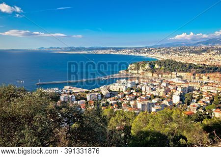 City Of Nice Waterfront Panoramic View, French Riviera, Alpes Maritimes Department Of France