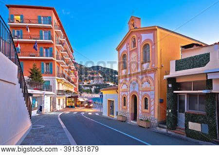 Villefranche Sur Mer Idyllic French Riviera Town Evening View, Alpes-maritimes Region Of France