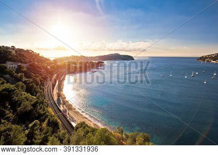 Idyllic French Riviera Bay And Cap Ferrat Sunset View, Alpes-maritimes Region Of France
