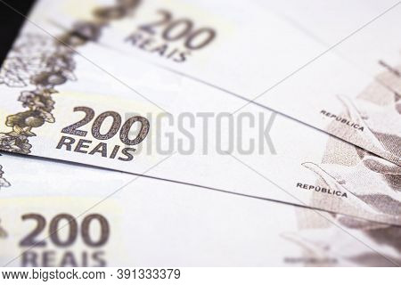 Two Hundred Reais Bill From Brazil, New 200 Reais Bill, Money From Brazil. Grand Prize Concept