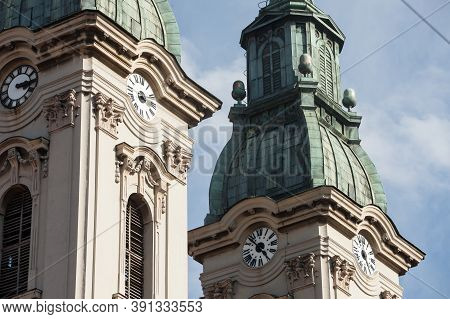 Church Clocktower Steeple Of The Serbian Orthodox Church Of Hram Uspenja Presvete Bogorodice Temple,