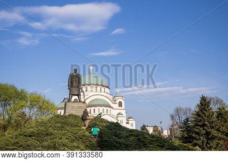 Belgrade, Serbia - April 6, 2019: Monument To Karadjordjevic Dynasty, Called Karadjordje, In Front O