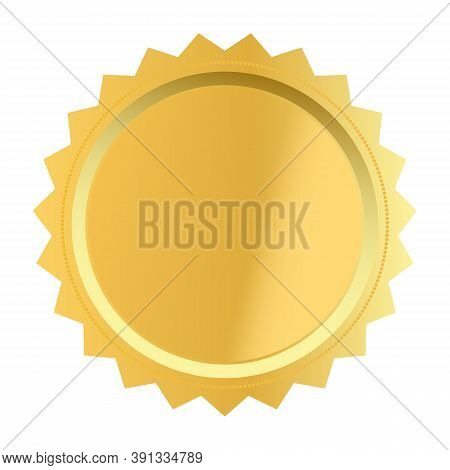 Blank Award With Golden Icon On White Background. Golden Award Medal Sign. Golden Label Symbol. Flat