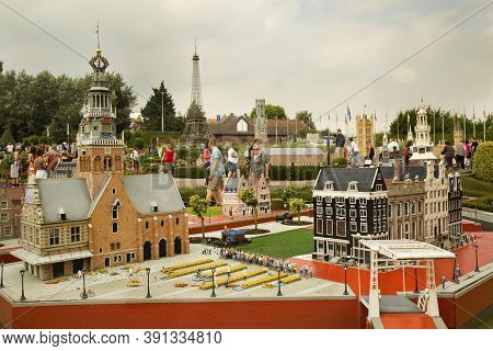 Brussels, Belgium, 14 August 2016. Miniature Town Of Alkmaar In The Netherlands At The Park Mini Eur