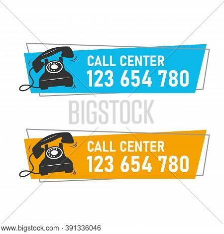 Vector Template Of Call Center Information Banner. Suitable For The Design Elements Of Telephone Ass
