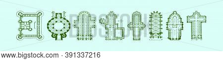 Cathedral Floor Plans Cartoon Icon Design Template With Duck And More. Vector Illustration Isolated