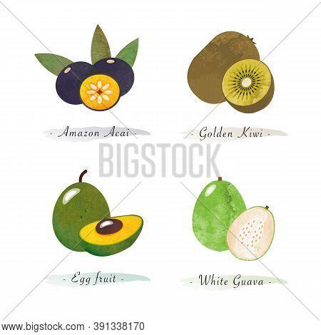 Organic Nature Healthy Food Fruit Amazon Acai Golden Kiwi Egg Fruit White Guava