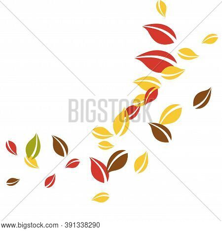 Falling Autumn Leaves. Red, Yellow, Green, Brown Chaotic Leaves Flying. Corner Colorful Foliage On Q