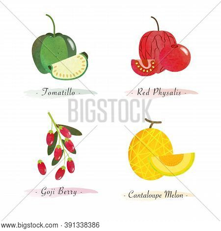 Organic Nature Healthy Food Fruit Tomatillo Red Physalis Goji Berry Cantaloupe Melon