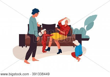 Family Conflict. Couple Quarrel At Home, Mother And Father Shouting With Children. Kids Suffer From