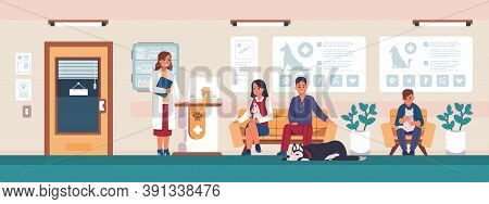 Veterinary. Cartoon People With Sick Pets In Clinic Office Waiting For Doctor, Animal Hospital Visit