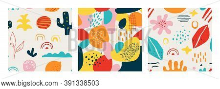 Contemporary Shape Pattern. Seamless Abstract Doodle Modern Square Collage For Social Media Posts An