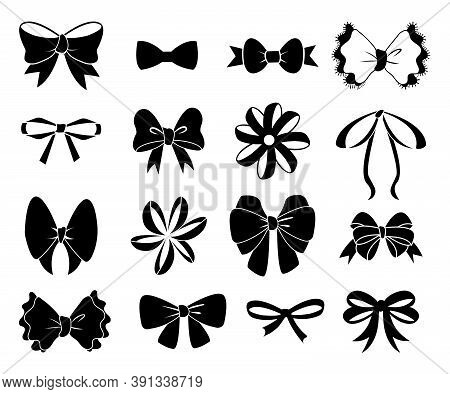 Black Bow. Flat Ribbons For Birthday Greeting Cards And Invitations. Black Bows Silhouettes, Ribbon