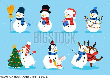 Cute Snowman. Cartoon Winter Christmas Character Collection Of Funny Snowmen Wearing Gloves Hat And