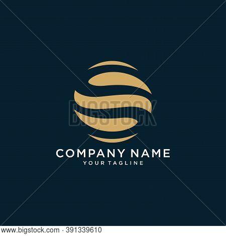 Initial Letter O S, Os, So, Minimalist Art, Gold Monogram Logo Shape On Black Background