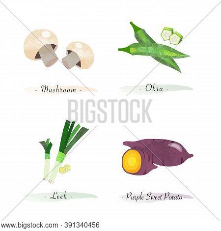 Watercolor Healthy Nature Organic Plant Vegetable Food Ingredient Mushroom Okra Leek Purple Sweet Po
