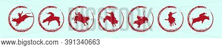 Set Of Rodeo Cartoon Icon Design Template With Various Models. Vector Illustration Isolated On Blue