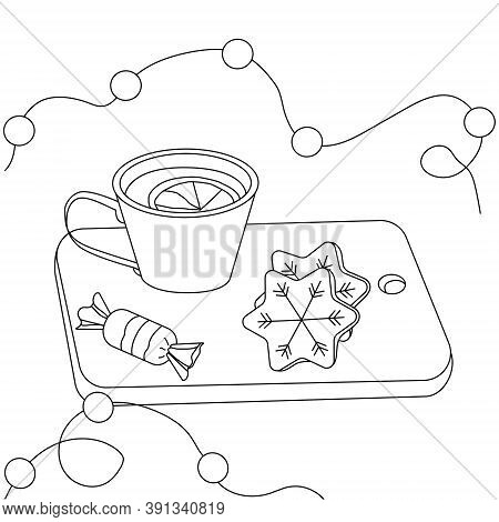 Black Outline Of A Mug Of Tea, Christmas Cookies And Lights. Vector Illustration For Coloring.
