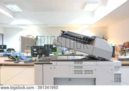 Close-up The Copier Or Photocopier Or Xerox Printer Machine Is Office Work Tool Equipment For Photo
