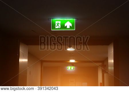 Green Emergency Fire Exit Sign Or Fire Escape With The Doorway Or Door Exit In The Building Ideas Fo