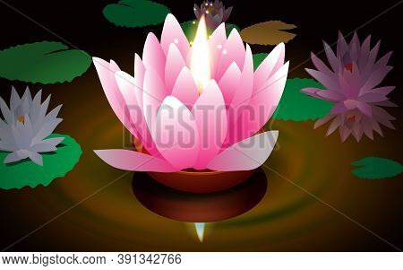 Loy Kratong Festival At The River In The Night In Thailand
