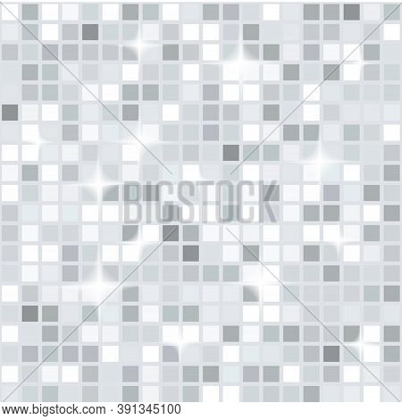 Silver White Disco Lights Seamless Pattern. Mosaic Shimmer Background. Disco Party Parkle Glitter Ba